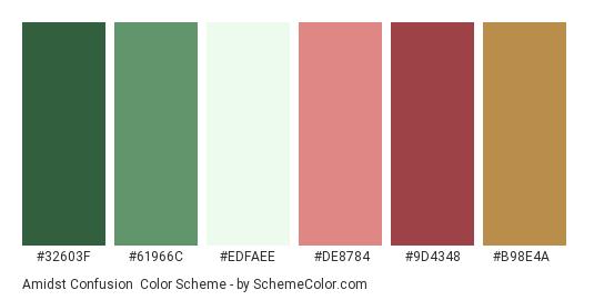 Amidst Confusion - Color scheme palette thumbnail - #32603f #61966c #edfaee #de8784 #9d4348 #b98e4a