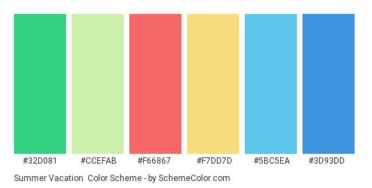 Summer Vacation - Color scheme palette thumbnail - #32d081 #ccefab #f66867 #f7dd7d #5bc5ea #3d93dd