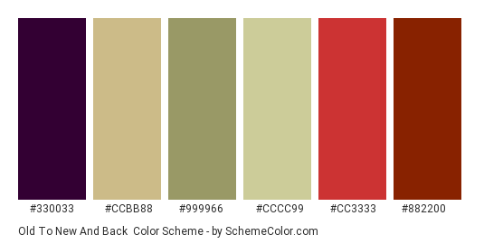 Old to New and Back - Color scheme palette thumbnail - #330033 #CCBB88 #999966 #cccc99 #cc3333 #882200