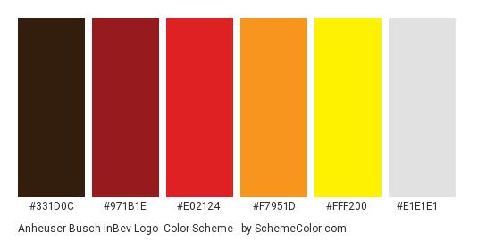 Anheuser-Busch InBev Logo - Color scheme palette thumbnail - #331d0c #971b1e #e02124 #f7951d #fff200 #e1e1e1