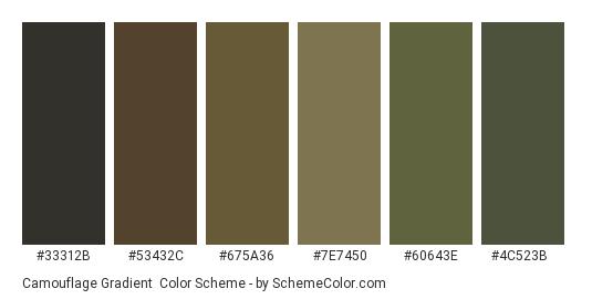 Camouflage Gradient - Color scheme palette thumbnail - #33312b #53432c #675a36 #7e7450 #60643e #4c523b