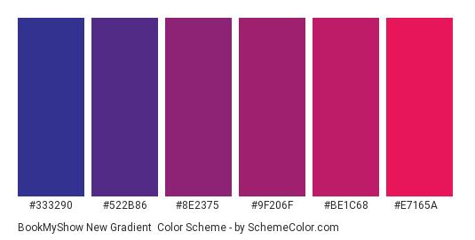 BookMyShow New Gradient - Color scheme palette thumbnail - #333290 #522B86 #8E2375 #9F206F #BE1C68 #E7165A
