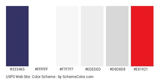 USPS Web Site - Color scheme palette thumbnail - #333465 #ffffff #f7f7f7 #ededed #d8d8d8 #e81921