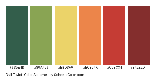 Dull Twist - Color scheme palette thumbnail - #335e4b #89a453 #ebd369 #ec854a #c53c34 #842e2d