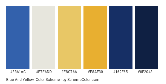 Blue And Yellow Color Scheme Palette Thumbnail 3361ac E7e6dd E8c766