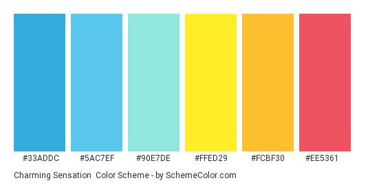 Charming Sensation - Color scheme palette thumbnail - #33ADDC #5AC7EF #90E7DE #FFED29 #FCBF30 #EE5361