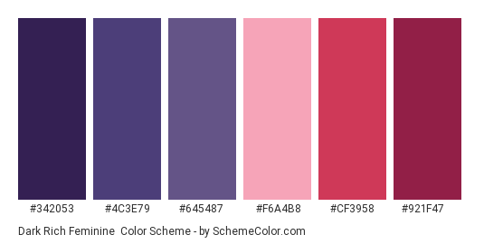 Dark Rich Feminine - Color scheme palette thumbnail - #342053 #4c3e79 #645487 #f6a4b8 #cf3958 #921f47