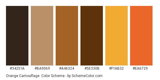 Orange Camouflage - Color scheme palette thumbnail - #34251a #ba9069 #a46324 #5e330b #f1ab32 #ea6729