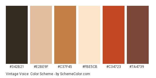 Vintage Voice - Color scheme palette thumbnail - #342b21 #e2be9f #c37f45 #fbe5cb #c34723 #7a4739