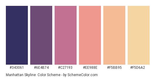 Manhattan Skyline - Color scheme palette thumbnail - #343061 #6e4b74 #c27193 #ee988e #f5bb95 #f5d6a2