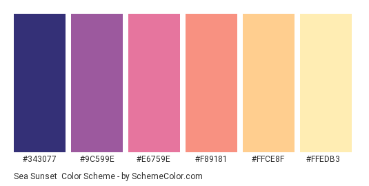 Sea Sunset - Color scheme palette thumbnail - #343077 #9C599E #E6759E #F89181 #FFCE8F #FFEDB3