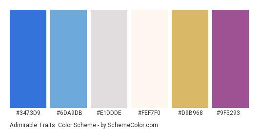 Admirable Traits - Color scheme palette thumbnail - #3473d9 #6da9db #e1ddde #fef7f0 #d9b968 #9f5293