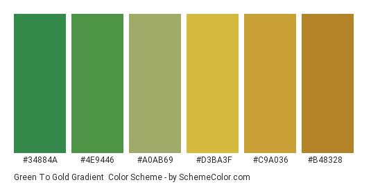 Green to Gold Gradient - Color scheme palette thumbnail - #34884a #4e9446 #a0ab69 #d3ba3f #c9a036 #b48328