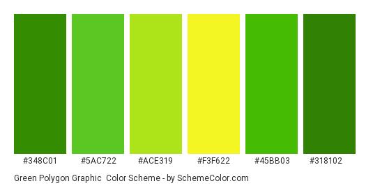 Green Polygon Graphic - Color scheme palette thumbnail - #348c01 #5ac722 #ace319 #f3f622 #45bb03 #318102