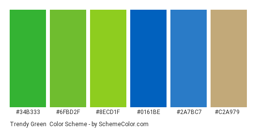 Trendy Green - Color scheme palette thumbnail - #34b333 #6fbd2f #8ecd1f #0161be #2a7bc7 #c2a979
