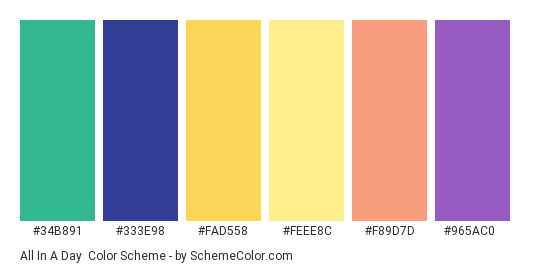 All in a Day - Color scheme palette thumbnail - #34b891 #333e98 #fad558 #feee8c #f89d7d #965ac0