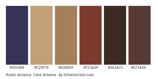 Rustic America - Color scheme palette thumbnail - #353458 #c29f76 #a38059 #7c3a2f #3d2a22 #573a35