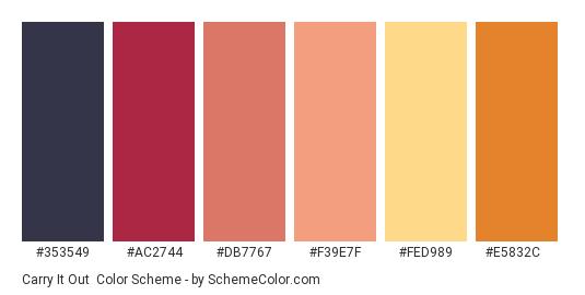 Carry It Out - Color scheme palette thumbnail - #353549 #AC2744 #DB7767 #F39E7F #FED989 #E5832C