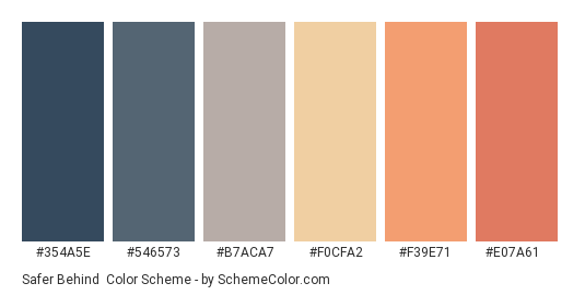 Safer Behind - Color scheme palette thumbnail - #354a5e #546573 #b7aca7 #f0cfa2 #f39e71 #e07a61