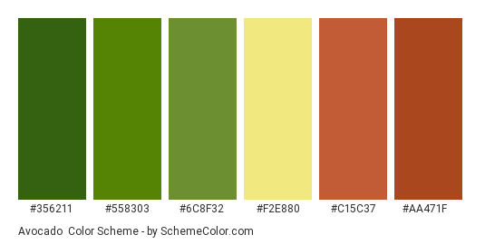 Avocado Color Scheme Palette Thumbnail 356211 558303 6c8f32 F2e880