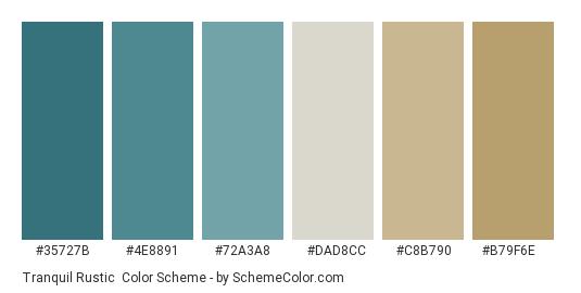 Tranquil Rustic - Color scheme palette thumbnail - #35727b #4e8891 #72a3a8 #dad8cc #c8b790 #b79f6e