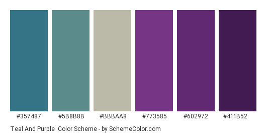 Teal and Purple - Color scheme palette thumbnail - #357487 #5b8b8b #bbbaa8 #773585 #602972 #411b52