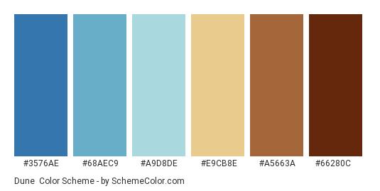 Dune - Color scheme palette thumbnail - #3576AE #68AEC9 #A9D8DE #E9CB8E #A5663A #66280C
