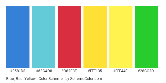 Blue, Red, Yellow & Green Color Scheme » Blue ...