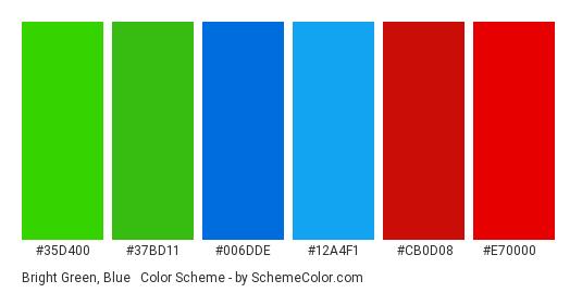 Bright Green, Blue & Red - Color scheme palette thumbnail - #35D400 #37BD11 #006DDE #12A4F1 #CB0D08 #E70000