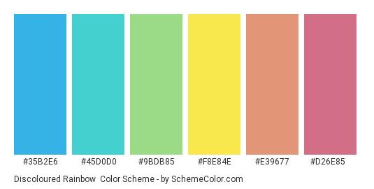 Discoloured Rainbow - Color scheme palette thumbnail - #35b2e6 #45d0d0 #9bdb85 #f8e84e #e39677 #d26e85