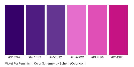 Violet for Feminism - Color scheme palette thumbnail - #360269 #4f1c82 #653592 #e56dcc #df4fb6 #c51383