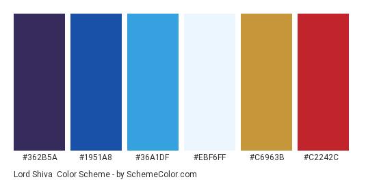 Lord Shiva - Color scheme palette thumbnail - #362B5A #1951A8 #36A1DF #EBF6FF #C6963B #C2242C
