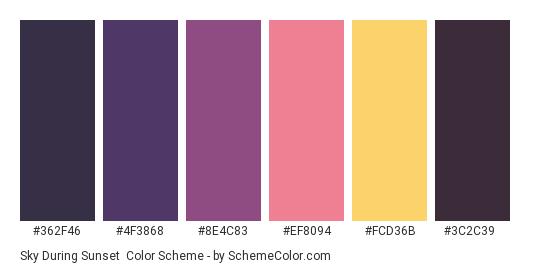 Sky During Sunset - Color scheme palette thumbnail - #362F46 #4F3868 #8E4C83 #EF8094 #FCD36B #3C2C39