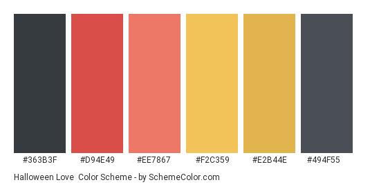 Halloween Love - Color scheme palette thumbnail - #363b3f #d94e49 #ee7867 #f2c359 #e2b44e #494f55
