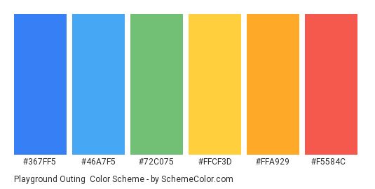 Playground Outing - Color scheme palette thumbnail - #367FF5 #46A7F5 #72C075 #FFCF3D #FFA929 #F5584C