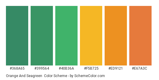 Orange and Seagreen - Color scheme palette thumbnail - #368A65 #399564 #40B36A #F5B725 #ED9121 #E67A3C