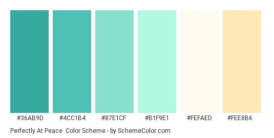 Perfectly At Peace - Color scheme palette thumbnail - #36ab9d #4cc1b4 #87e1cf #b1f9e1 #fefaed #fee8b6