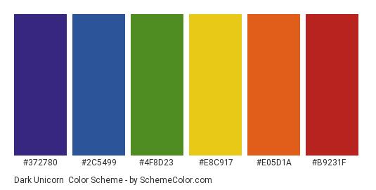 Dark Unicorn - Color scheme palette thumbnail - #372780 #2c5499 #4f8d23 #e8c917 #e05d1a #b9231f