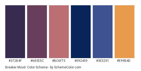 Breaker Mood - Color scheme palette thumbnail - #372b4f #683e5c #bc6f73 #092459 #3e5291 #e99b4d
