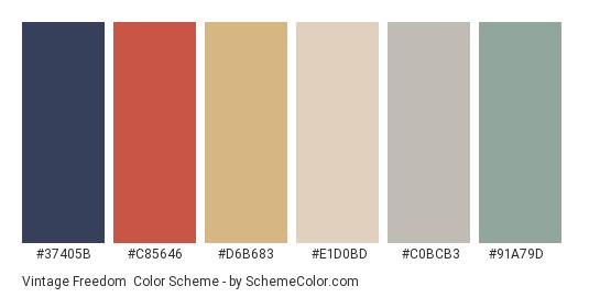 Vintage Freedom - Color scheme palette thumbnail - #37405b #c85646 #d6b683 #e1d0bd #c0bcb3 #91a79d