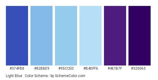 Light Blue & Violet - Color scheme palette thumbnail - #374fb8 #82bbe9 #95cced #b4dff6 #4e1b7f #320063