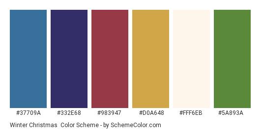 Winter Christmas - Color scheme palette thumbnail - #37709a #332e68 #983947 #d0a648 #fff6eb #5a893a