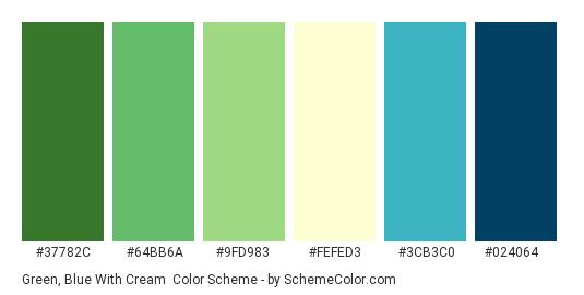 Green Blue With Cream Color Scheme Palette Thumbnail 37782c 64bb6a