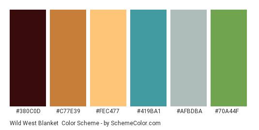 Wild West Blanket - Color scheme palette thumbnail - #380c0d #c77e39 #fec477 #419ba1 #afbdba #70a44f