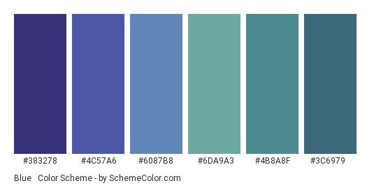 Blue & Green Cold Gradient - Color scheme palette thumbnail - #383278 #4c57a6 #6087b8 #6da9a3 #4b8a8f #3c6979