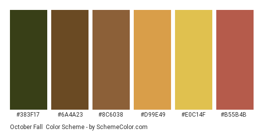 October Fall - Color scheme palette thumbnail - #383f17 #6a4a23 #8c6038 #d99e49 #e0c14f #b55b4b