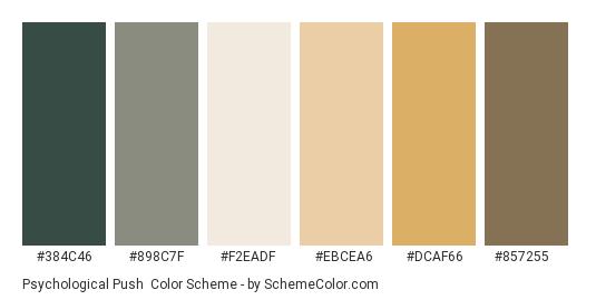 Psychological Push - Color scheme palette thumbnail - #384c46 #898c7f #f2eadf #ebcea6 #dcaf66 #857255