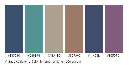Vintage Avalanche - Color scheme palette thumbnail - #38506c #539394 #aba18c #9c7a65 #414c6b #805d7c