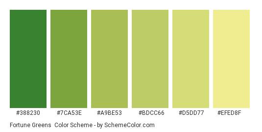 Fortune Greens - Color scheme palette thumbnail - #388230 #7ca53e #a9be53 #bdcc66 #d5dd77 #efed8f