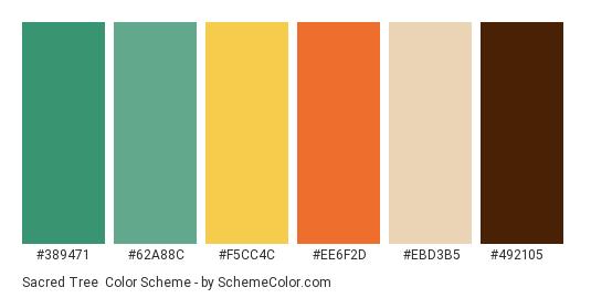 Sacred Tree - Color scheme palette thumbnail - #389471 #62a88c #f5cc4c #ee6f2d #ebd3b5 #492105